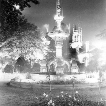 Leamington Spa.  Lights around the Hitchman Fountain