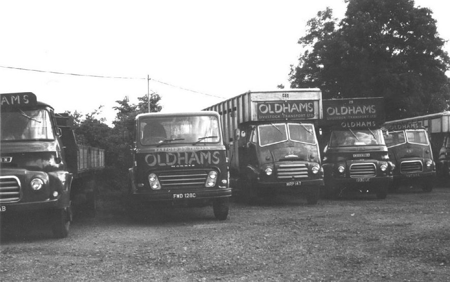 Oldhams haulage lorries parked in depot at Barford.  1960s |  IMAGE LOCATION: (Warwickshire County Record Office)