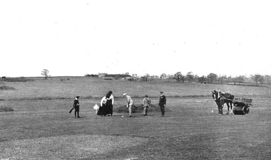 View from the 9th tee on Whitnash golf course.  Circa 1910 |  IMAGE LOCATION: (Warwickshire Museums. Photographic Collections.) IMAGE DATE: (c.1910)