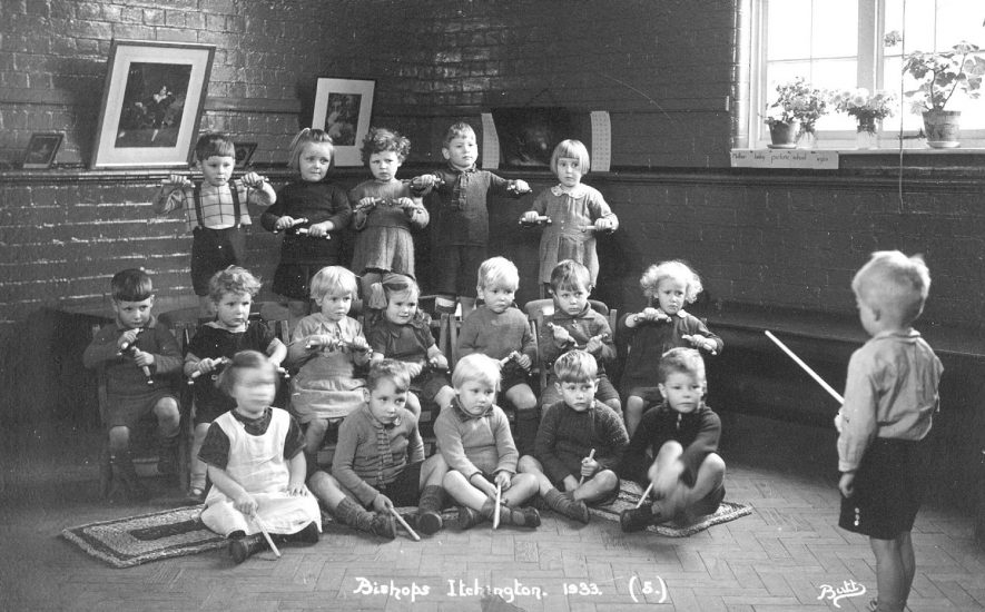 Group of children with percussion instruments at Bishops Itchington school.  1933 |  IMAGE LOCATION: (Warwickshire County Record Office)