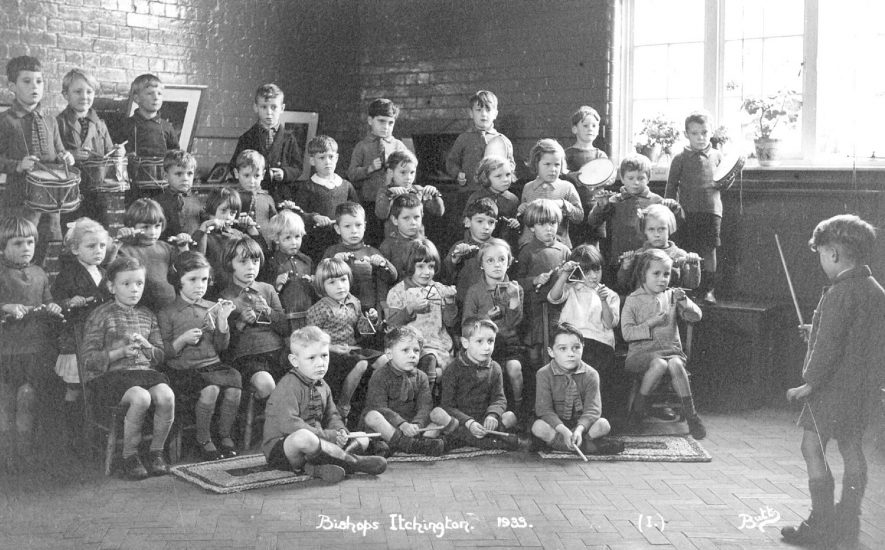 Schoolchildren playing in percussion band at Bishops Itchington.  1933 |  IMAGE LOCATION: (Warwickshire County Record Office)