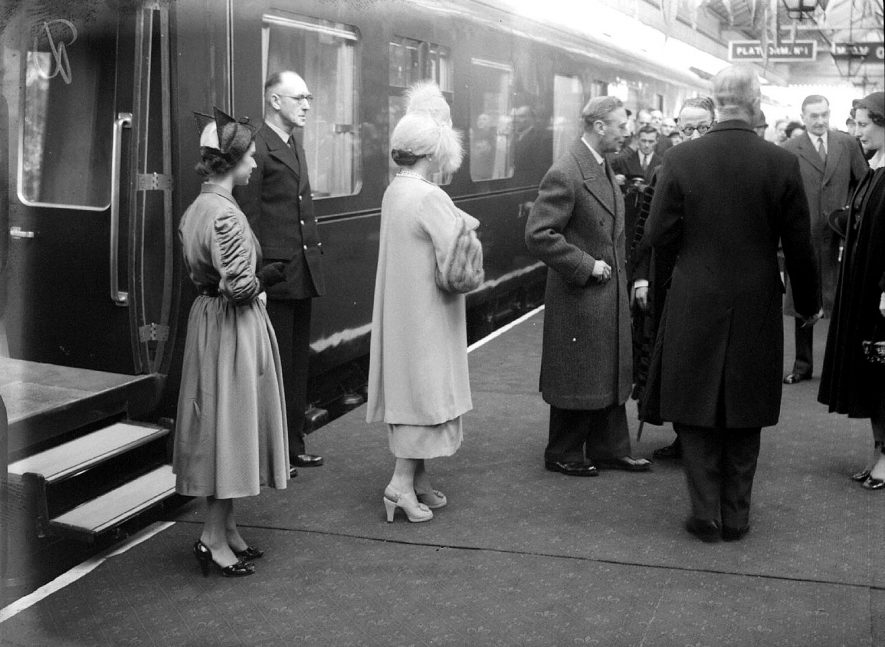King George VI and Queen Elizabeth arriving at Leamington Spa station for their visit in April 1951. |  IMAGE LOCATION: (Warwickshire County Record Office) PEOPLE IN PHOTO: George VI