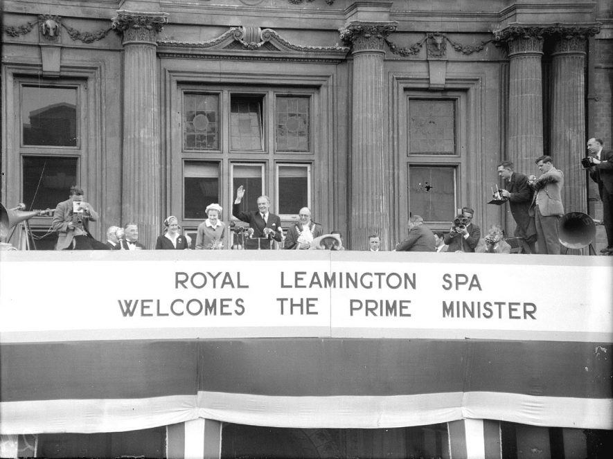 Anthony Eden and his wife on the balcony of the town hall Leamington Spa during their visit on 30 April 1955 |  IMAGE LOCATION: (Warwickshire County Record Office) PEOPLE IN PHOTO: Eden as a surname, Eden, Anthony