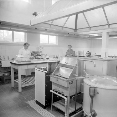 Leamington Spa.  Castel Froma, interior of kitchens