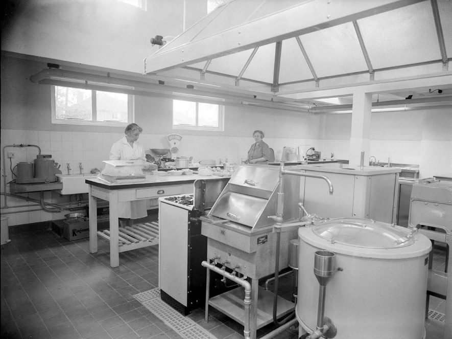 Interior of kitchens of Castel Froma Royal Midlands Counties Home, Leamington Spa.  1957 |  IMAGE LOCATION: (Warwickshire County Record Office)