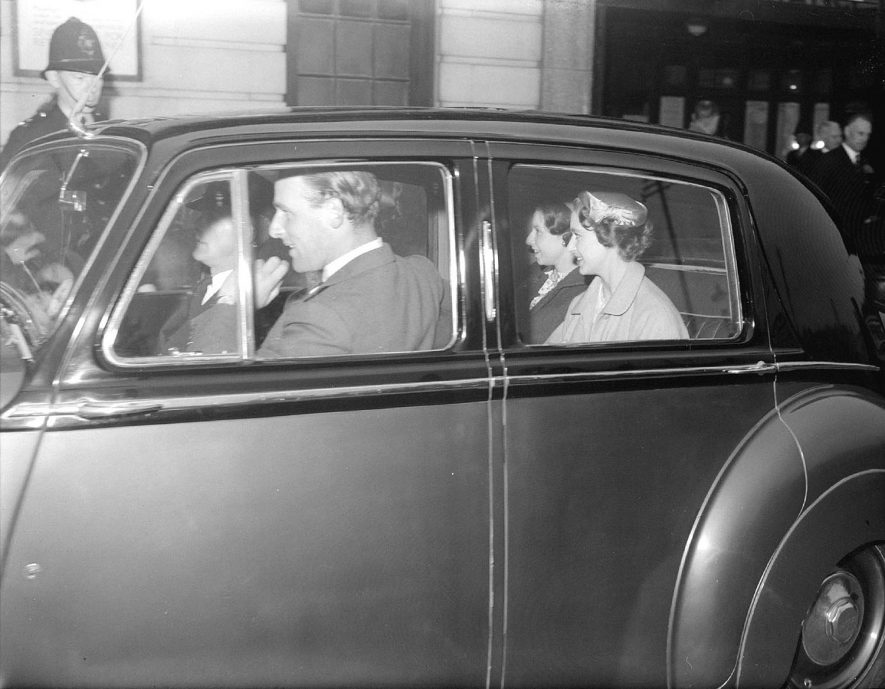 Visit of Princess Margaret in her car with a lady-in-waiting, Leamington Spa.  1955