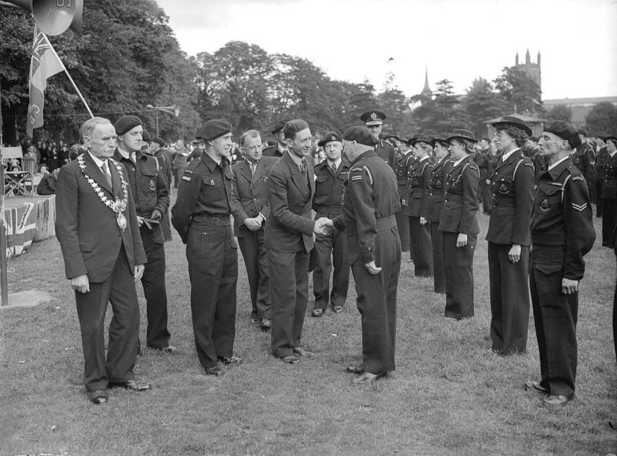 Civil Defence parade and inspection at Pump Room Gardens with the Mayor present, Leamington Spa.  12th July 1945 |  IMAGE LOCATION: (Warwickshire County Record Office)