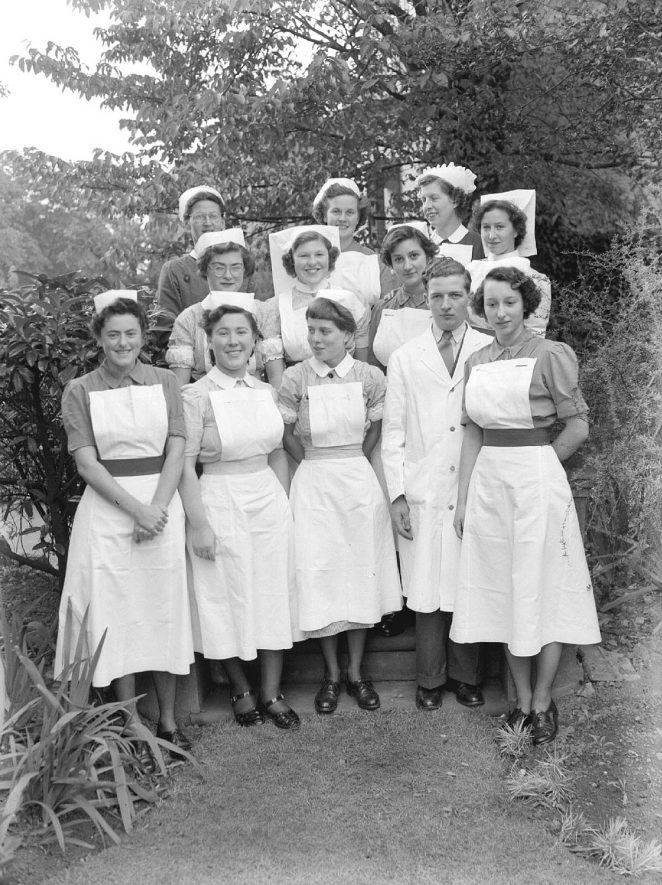 Group photograph of nurses at the Nurses' Home, St Mary's Road, Leamington Spa.  23rd September 1954 |  IMAGE LOCATION: (Warwickshire County Record Office)