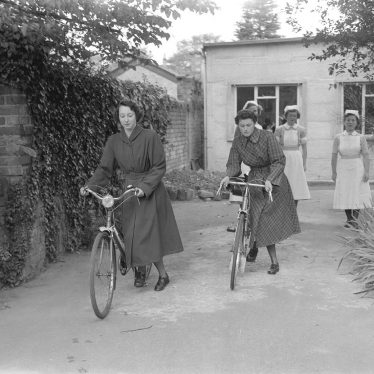Leamington Spa.  Nurses with bikes