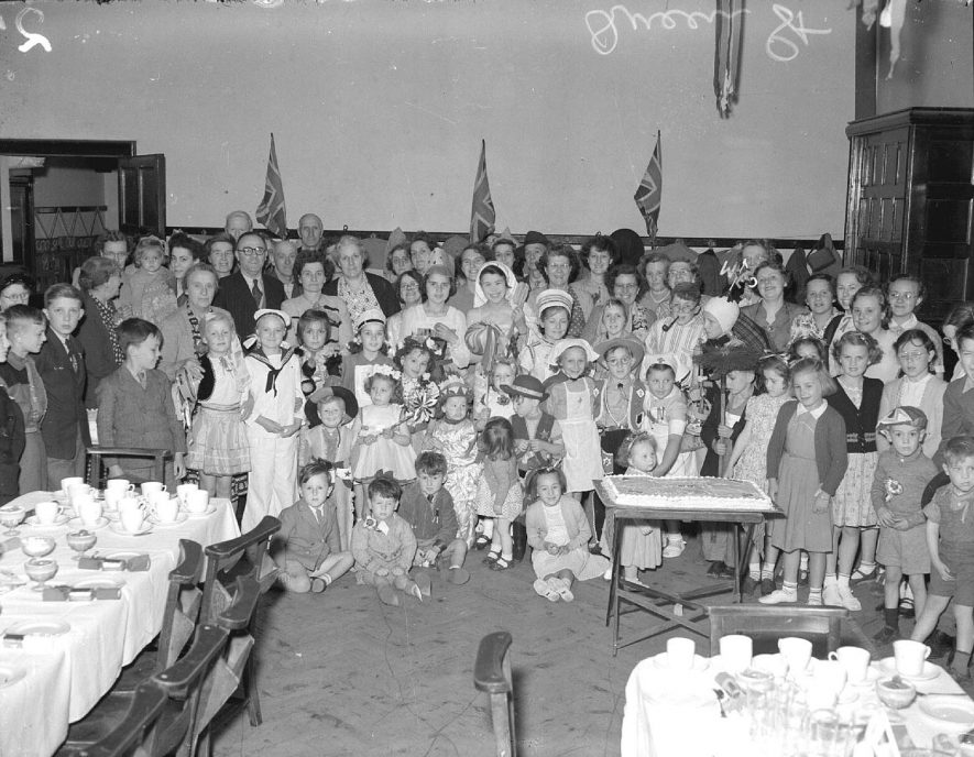 Interior. Party for Coronation of Elizabeth II.  Queen Street, Leamington Spa.  June 1953. |  IMAGE LOCATION: (Warwickshire County Record Office)