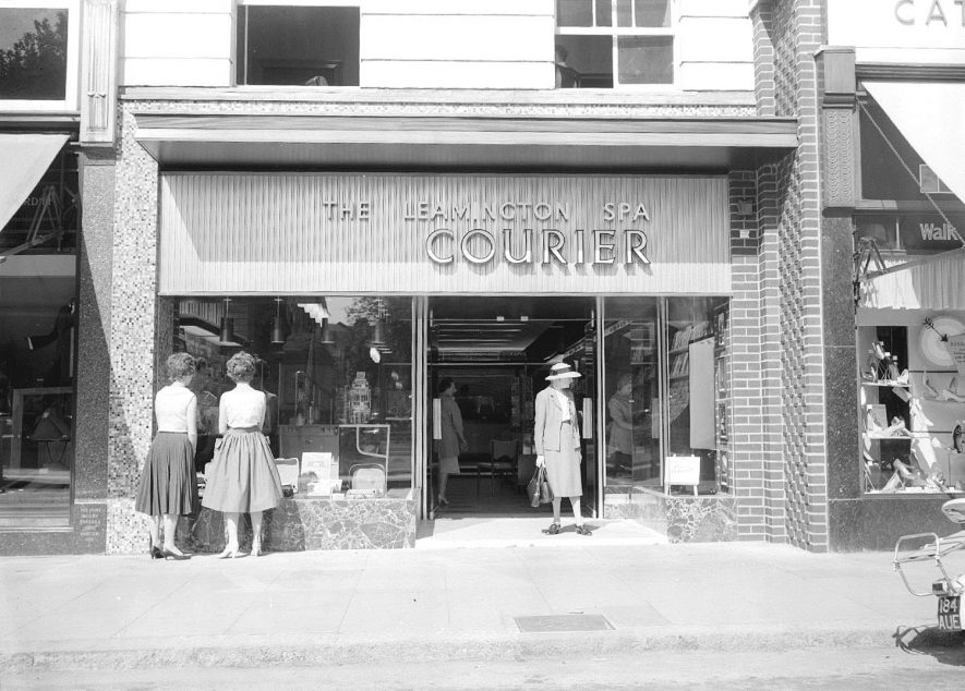 New Courier Shop, Leamington Spa.  July 1959 |  IMAGE LOCATION: (Warwickshire County Record Office)