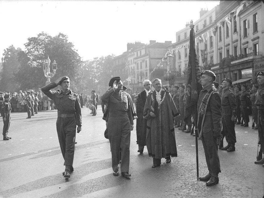 Visit of Field Marshall Montgomery to Leamington Spa to review of Guard of Honour.  4th October 1947 |  IMAGE LOCATION: (Warwickshire County Record Office) PEOPLE IN PHOTO: Montgomery, Field Marshall