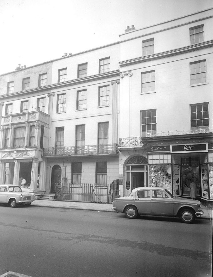Premises between nos. 20 and 30 The Parade, Leamington Spa. The ladies shop on the right of the picture was called 'Eve'.  1960 |  IMAGE LOCATION: (Warwickshire County Record Office)