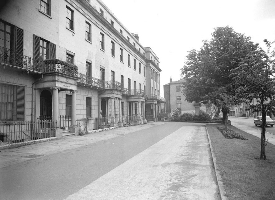 Row of terraced Regency  properties in Waterloo Place, Leamington Spa.  1957 |  IMAGE LOCATION: (Warwickshire County Record Office)