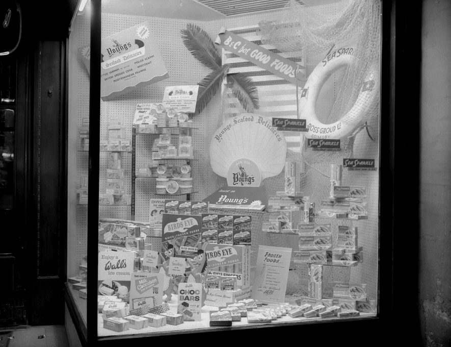 Window display for Tarver and Sidwell, in Burgis and Colbourne's department store, The Parade, Leamington Spa.  1957 |  IMAGE LOCATION: (Warwickshire County Record Office)