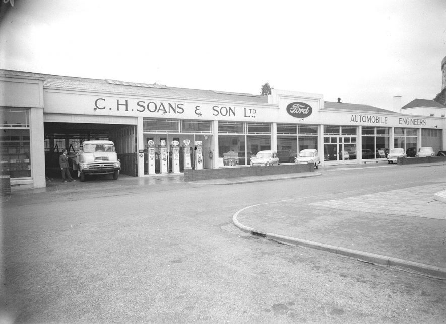 Garage and showroom of C.H. Soans & Son Ltd., Dormer Place, Leamington Spa.  1957 |  IMAGE LOCATION: (Warwickshire County Record Office)