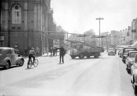A roofing truss being delivered to the Regent Garage, Leamington Spa. 1957 |  IMAGE LOCATION: (Warwickshire County Record Office)