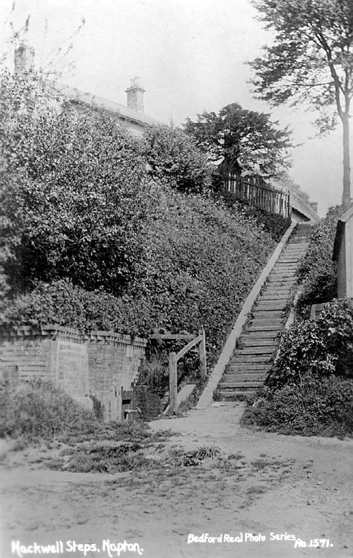 View of Hackwell Steps, taken from the bottom, Napton on the Hill.  Photo: Bedford Real Photo series no. 1571.  1910s |  IMAGE LOCATION: (Warwickshire County Record Office)