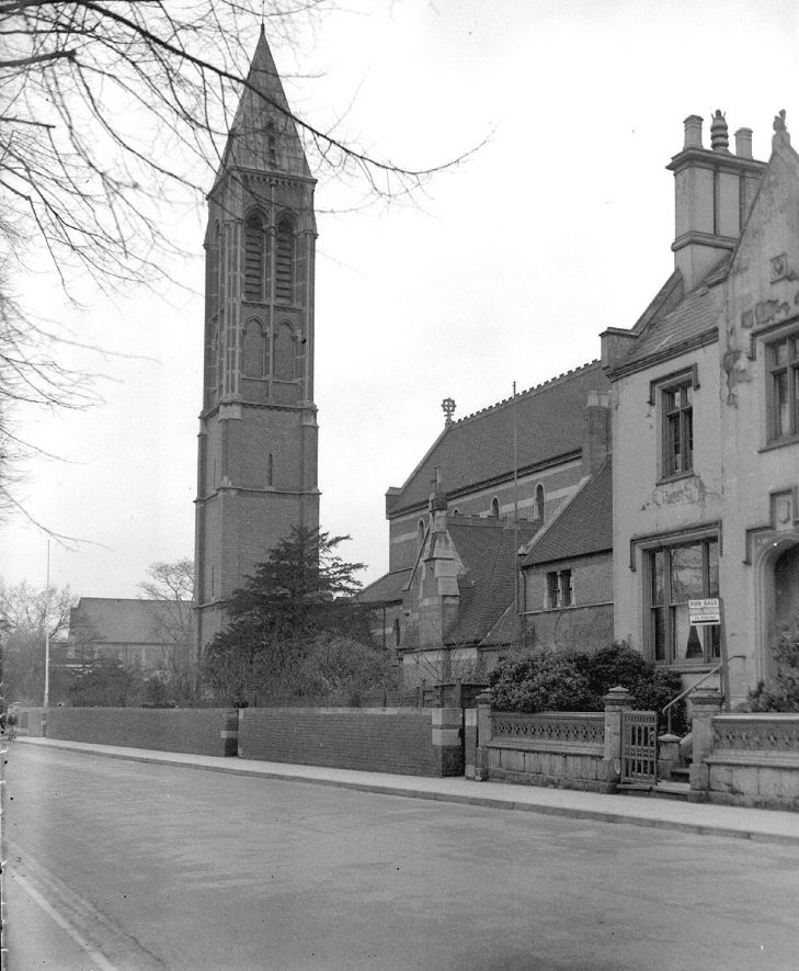 St Peter's Church, Dormer Place, Leamington Spa, showing the old tower.  1947 |  IMAGE LOCATION: (Warwickshire County Record Office)