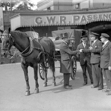 Leamington Spa.  Cabby at G W R Railway Station