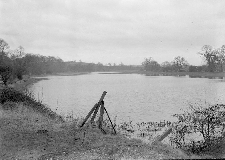 Flooding in Welch's meadow, Leamington Spa.  1947 |  IMAGE LOCATION: (Warwickshire Museum Sites and Monuments Record)