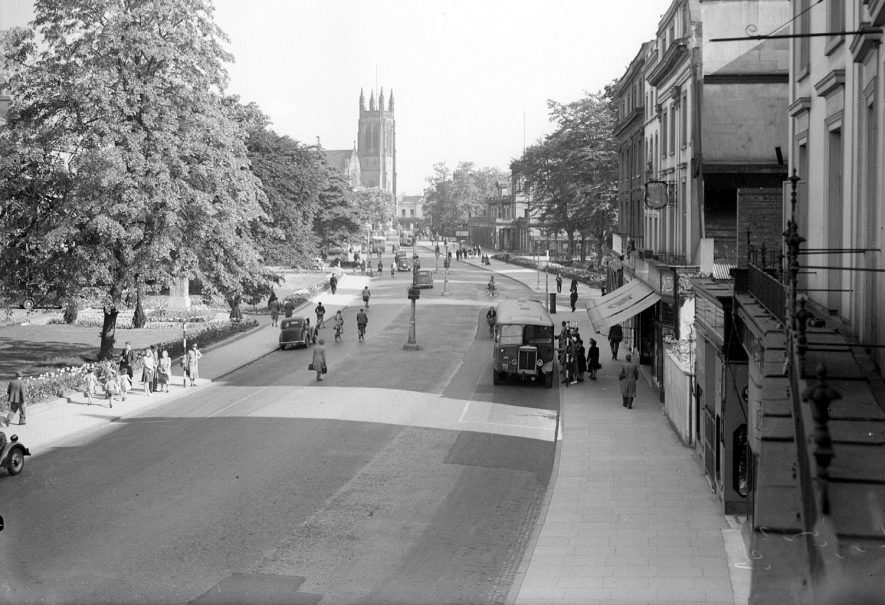 View down the Parade showing the Parish Church, Leamington Spa.  1937 |  IMAGE LOCATION: (Warwickshire County Record Office)