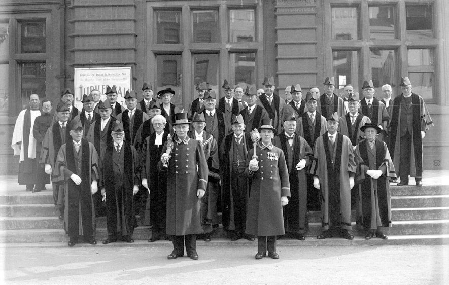 Leamington Spa group of Town Councillors robed for the first time on the Town Hall steps.  1935 |  IMAGE LOCATION: (Warwickshire County Record Office)