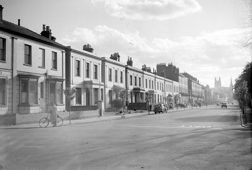 View along Leam Terrace looking towards the Parish church, Leamington Spa.  1947 |  IMAGE LOCATION: (Warwickshire County Record Office)