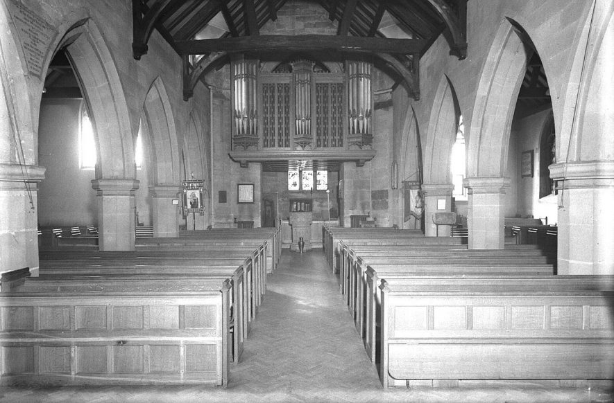 Interior of St Mary Magdalene Church Lillington, looking west.  1959 |  IMAGE LOCATION: (Warwickshire County Record Office)
