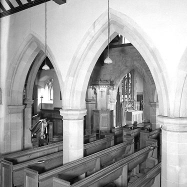 Lillington.  Church interior pews and pulpit
