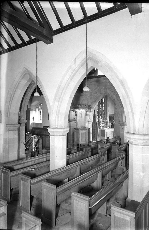 Interior of St Mary Magdalene church, Lillington.  1959 |  IMAGE LOCATION: (Warwickshire County Record Office)
