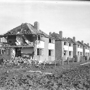 Lillington.  Bomb damage to houses