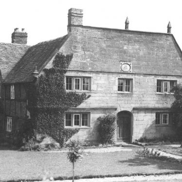 Barnacle Hall, Barnacle, near Coventry showing part of garden.  Note date stone 1745 |  IMAGE LOCATION: (Warwickshire County Record Office)