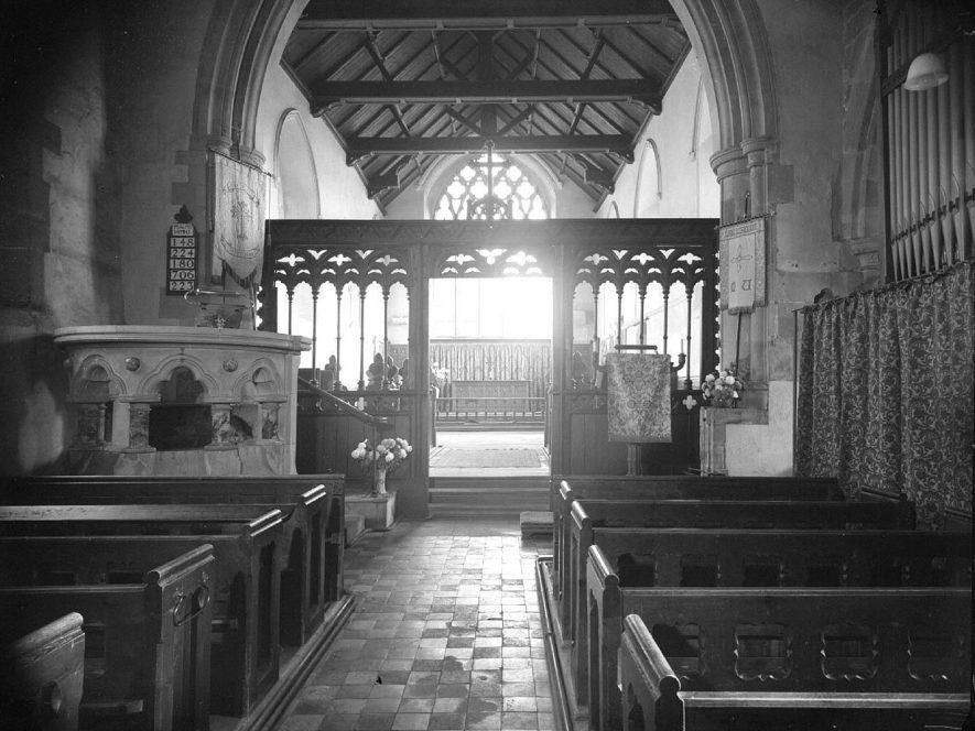 Long Itchington Parish Church interior, looking up nave toward chancel.  1957 29th  November  1957.    IMAGE LOCATION: (Warwickshire County Record Office)