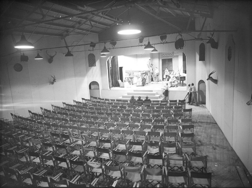 Interior of Loft Theatre, showing stage and seating, Leamington Spa.  10th  August 1948 |  IMAGE LOCATION: (Warwickshire County Record Office)