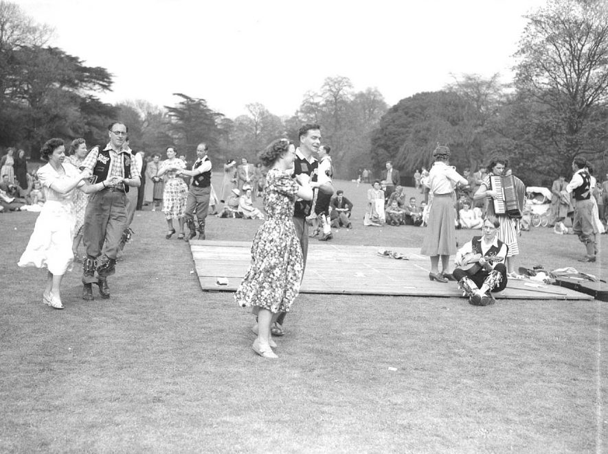 Morris dancing in Jephson Gardens, Leamington Spa.  1950