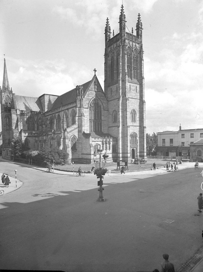 All Saints Parish Church, north side and west tower, Leamington Spa.  1944