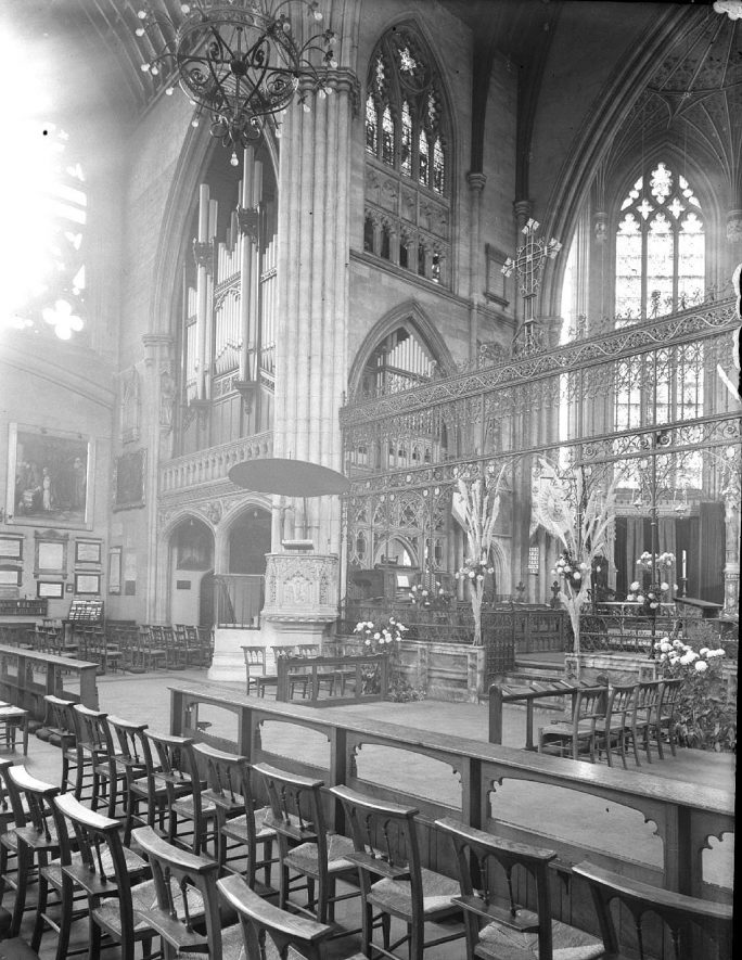 All Saints Parish Church, Leamington Spa.  Organ pipes and console.  1946