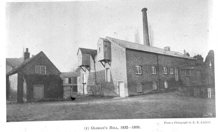 The exterior of Oldham's Mill, Leamington Spa, between 1832 and 1899. |  IMAGE LOCATION: (Warwickshire County Record Office)