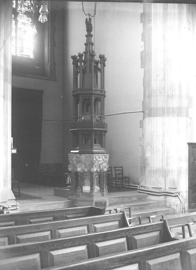 Font in St Mark's Church, Leamington Spa.  1930s |  IMAGE LOCATION: (Warwickshire County Record Office)
