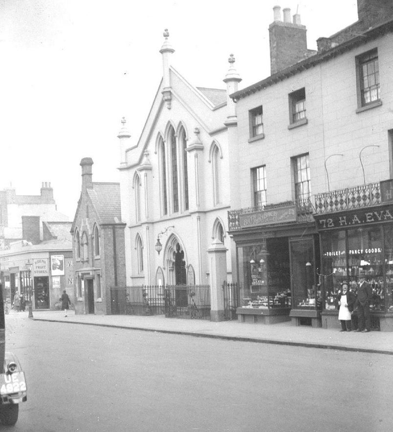 The Baptist Chapel and  shops in Warwick Street, Leamington Spa.  1920s |  IMAGE LOCATION: (Warwickshire County Record Office)