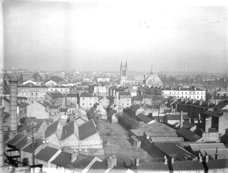 View of Leamington Spa from the gasworks with Bath Street and All Saint's Church.  February 5th 1935 |  IMAGE LOCATION: (Warwickshire County Record Office)
