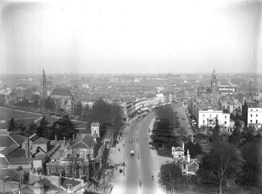 View of Leamington Spa from All Saint's Church tower, including the town hall, St Peter's Church, The Pump Rooms and the entrance to Jephson Gardens.  March 1st 1932 |  IMAGE LOCATION: (Warwickshire County Record Office)