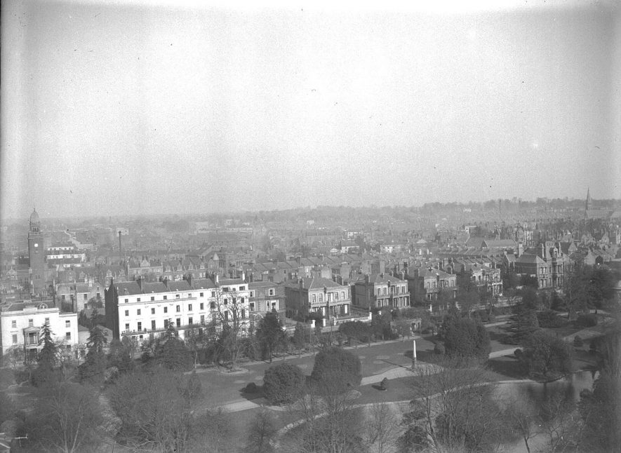 View of Leamington Spa from All Saint's Church tower including Newbold Terrace and Jephson Gardens.  March 1st 1932. |  IMAGE LOCATION: (Warwickshire County Record Office)