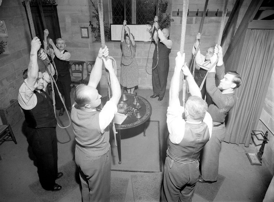 Bell-ringers in action at Parish Church, Leamington Spa.  10th December 1953 |  IMAGE LOCATION: (Warwickshire County Record Office)