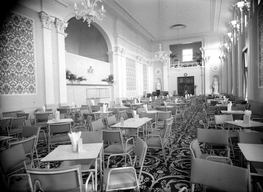 Pump Rooms tea room interior, newly decorated, Leamington Spa.  1957