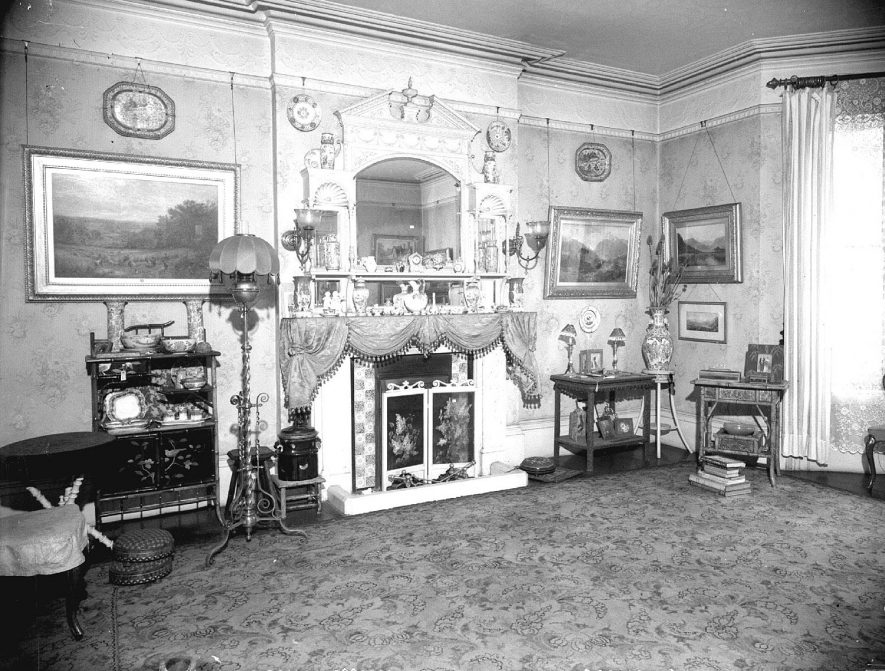 Victorian interior of the drawing room at 46, Willes Road.  1953 |  IMAGE LOCATION: (Warwickshire County Record Office)