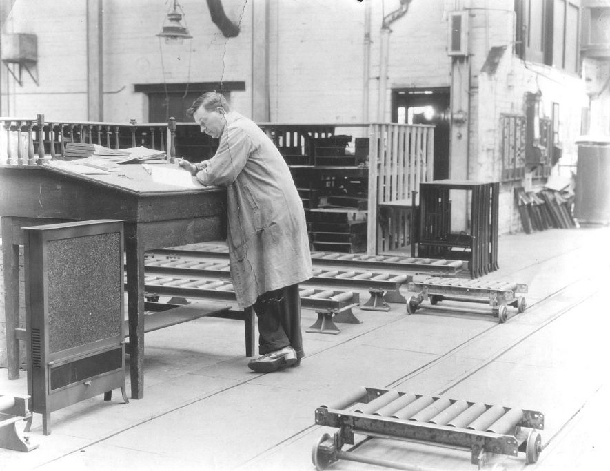 John Stickley in Flavel's toolroom, Leamington Spa.  1950s |  IMAGE LOCATION: (Warwickshire County Record Office) PEOPLE IN PHOTO: Stickley, John