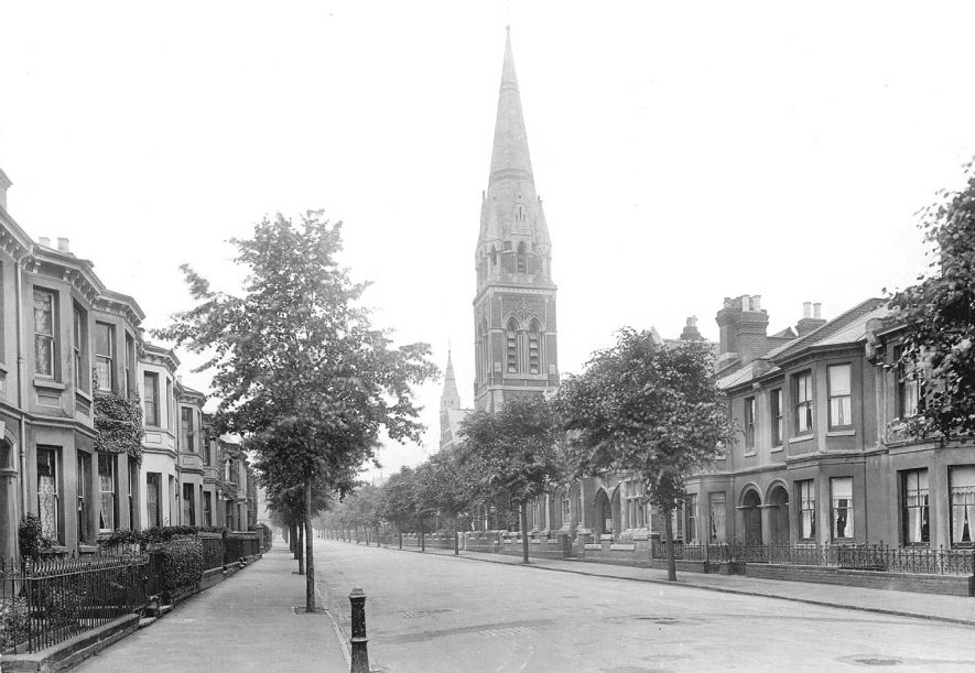 View along Leicester Street showing St Paul's Church, Leamington Spa.  1920s |  IMAGE LOCATION: (Warwickshire County Record Office)