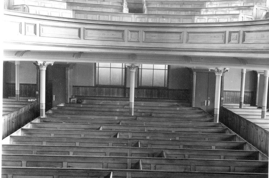 Interior of Dale Street Methodist church, Leamington Spa, in 1969. The building was pulled down in 1971. |  IMAGE LOCATION: (Warwickshire County Record Office)